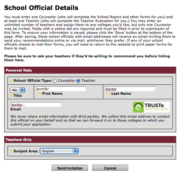 how to change counselor on common app